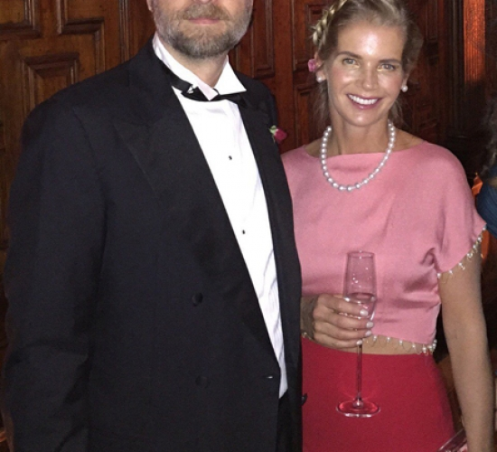 Sergei Pugachev with wife Alexandra Tolstoy during a reception / Sergueï Pougatchev avec son épouse Alexandra Tolstoy lors d'une réception / Сергей Пугачев с супругой Александрой Толстой во время приёма